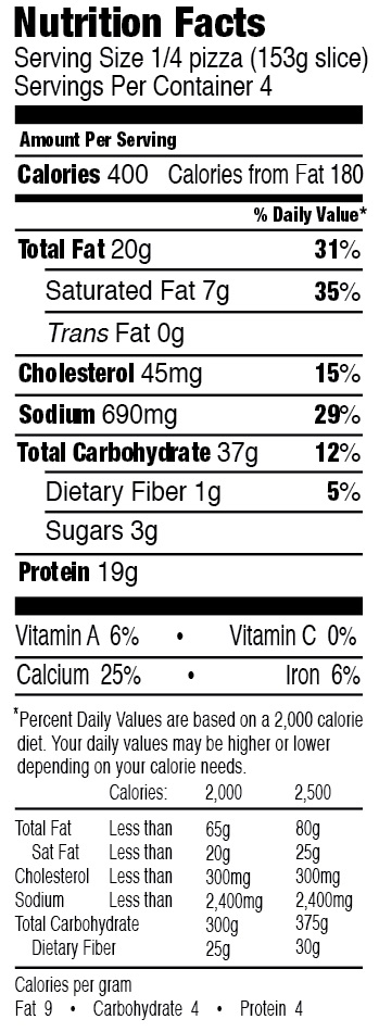 Mystic Pizza Buffalo Style Chicken Nutrition Facts